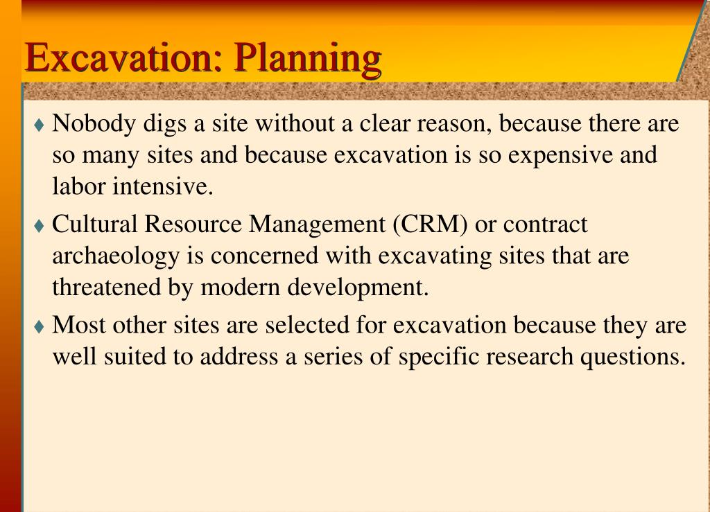 Excavation: Planning