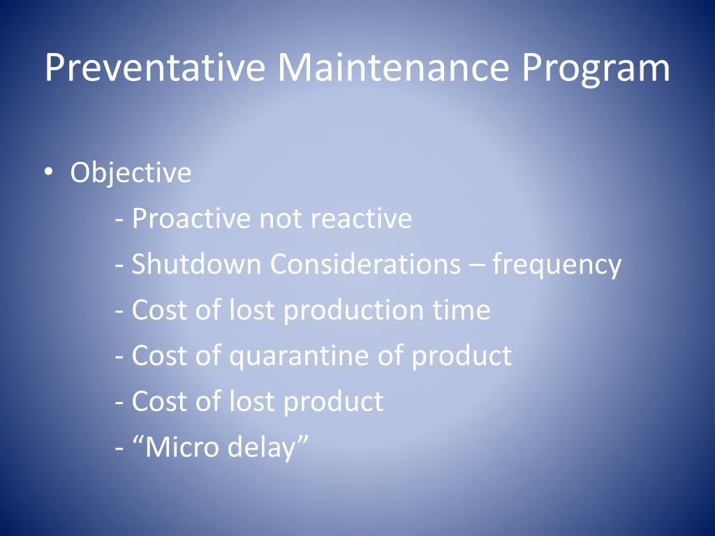 Preventative Maintenance Program