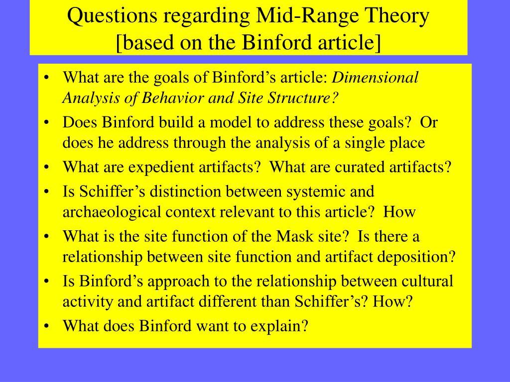 Questions regarding Mid-Range Theory