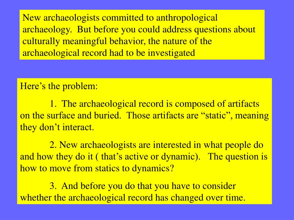 New archaeologists committed to anthropological archaeology.  But before you could address questions about culturally meaningful behavior, the nature of the archaeological record had to be investigated