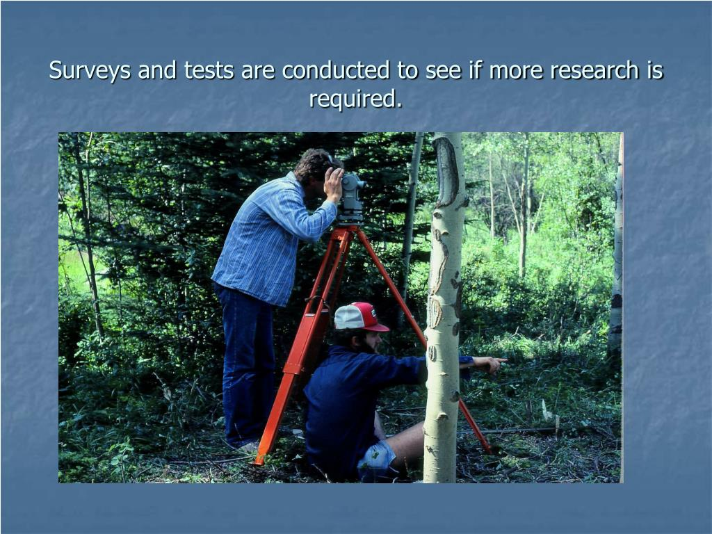 Surveys and tests are conducted to see if more research is required.