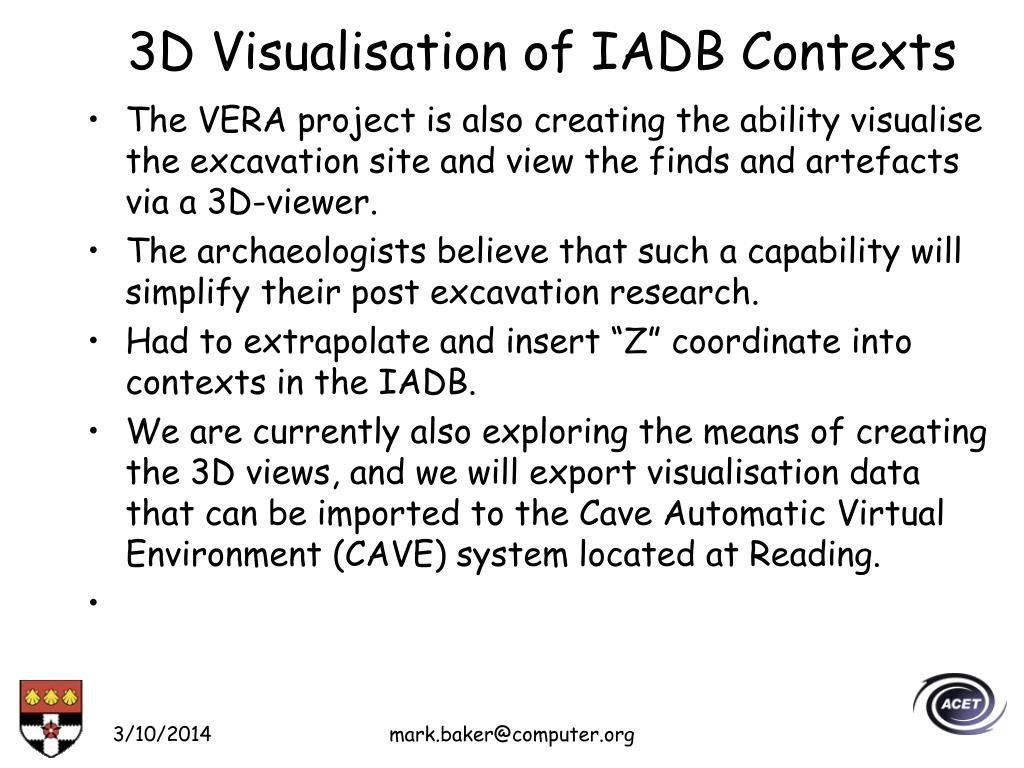 3D Visualisation of IADB Contexts