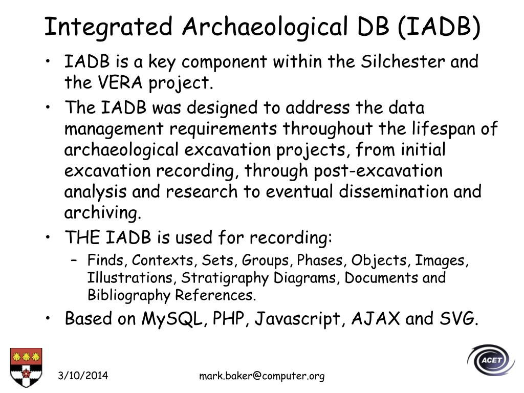 Integrated Archaeological DB (IADB)