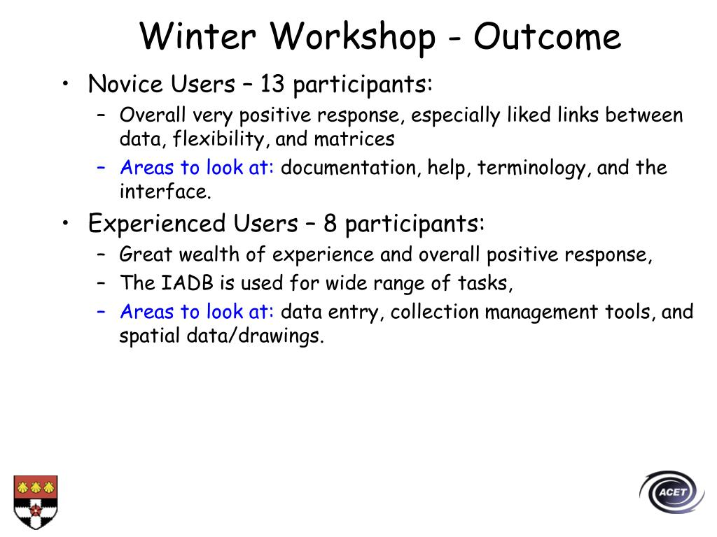 Winter Workshop - Outcome