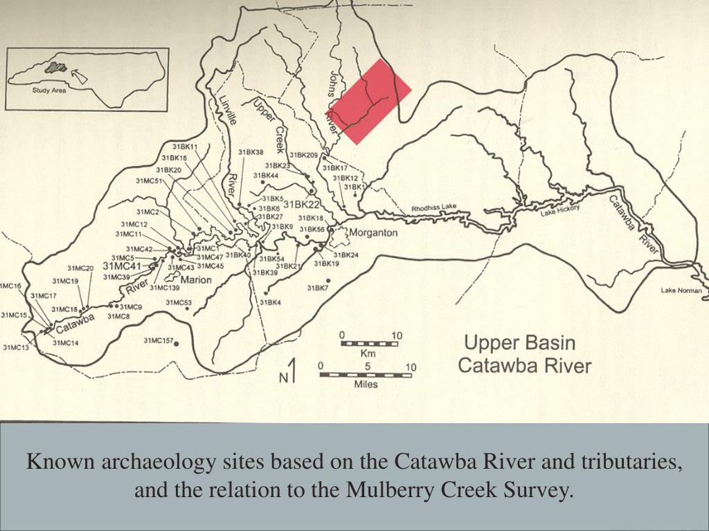 Known archaeology sites based on the Catawba River and tributaries, and the relation to the Mulberry Creek Survey.