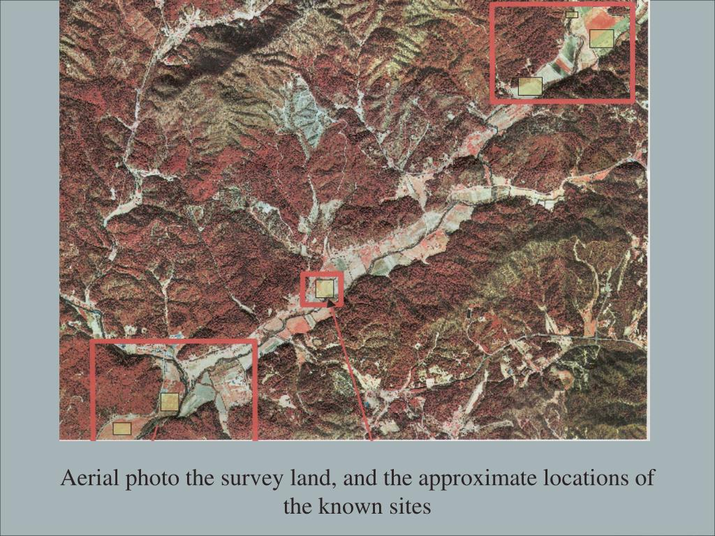 Aerial photo the survey land, and the approximate locations of the known sites