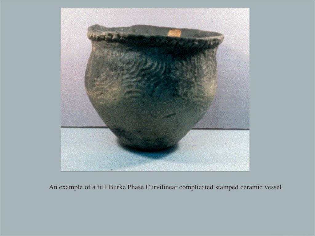 An example of a full Burke Phase Curvilinear complicated stamped ceramic vessel