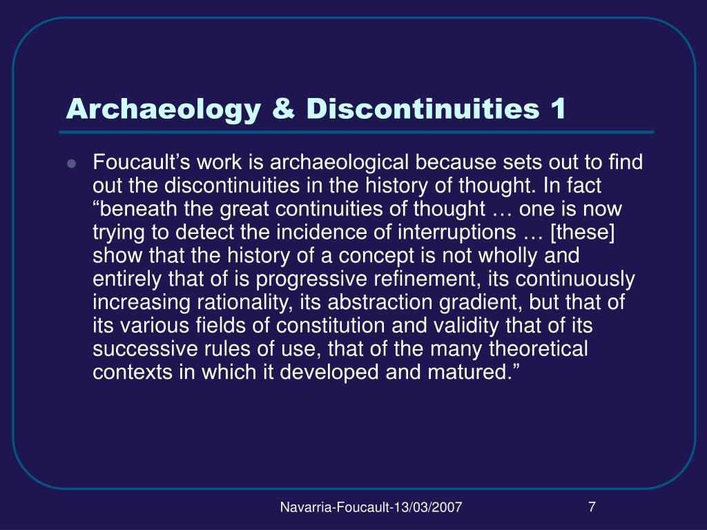 Archaeology & Discontinuities 1