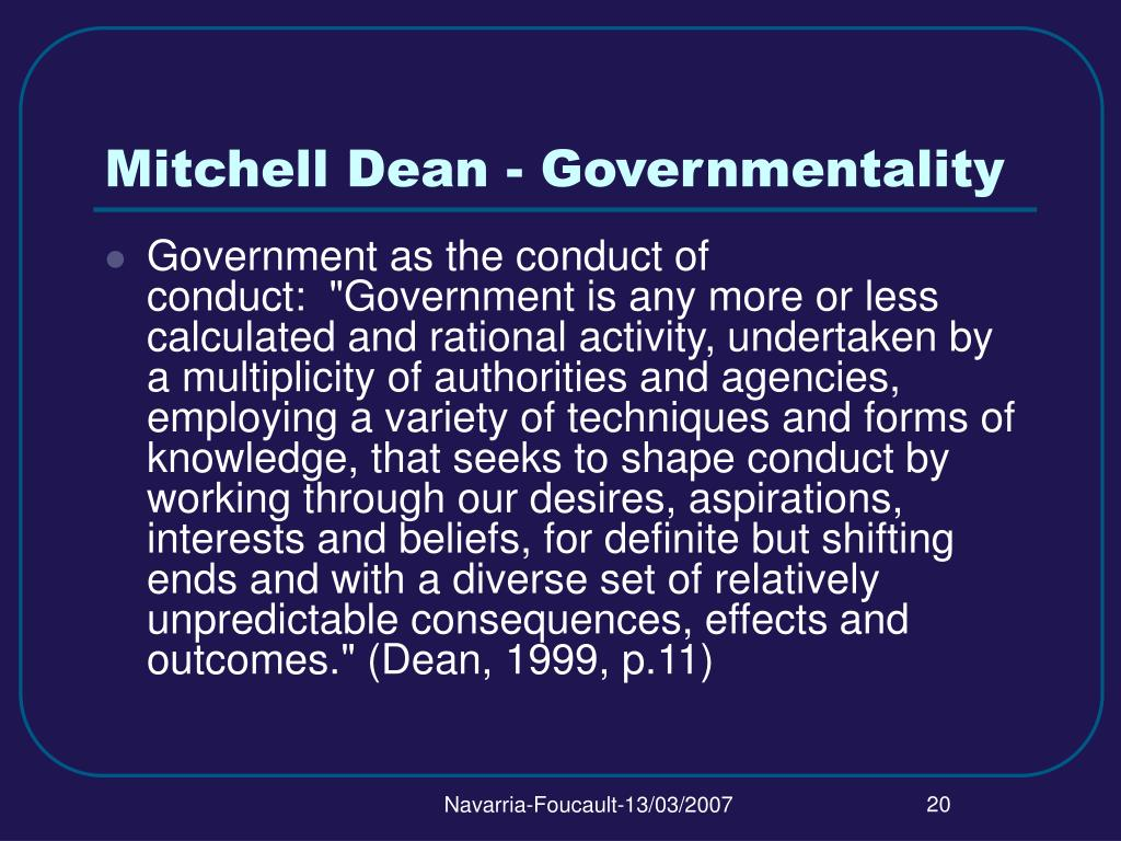 Mitchell Dean - Governmentality