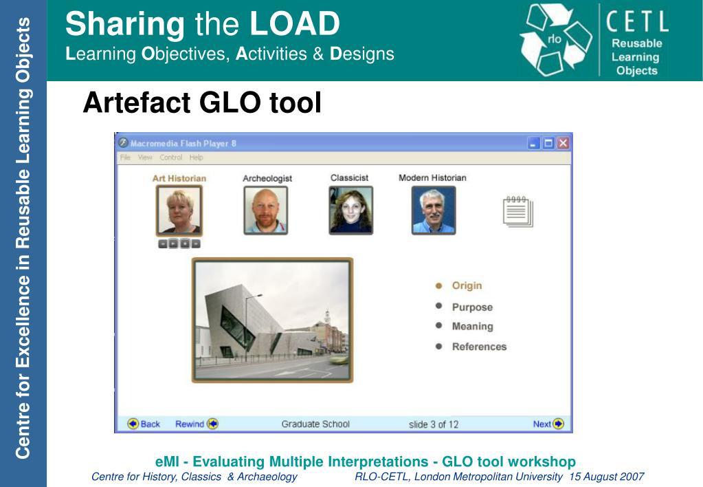 Artefact GLO tool