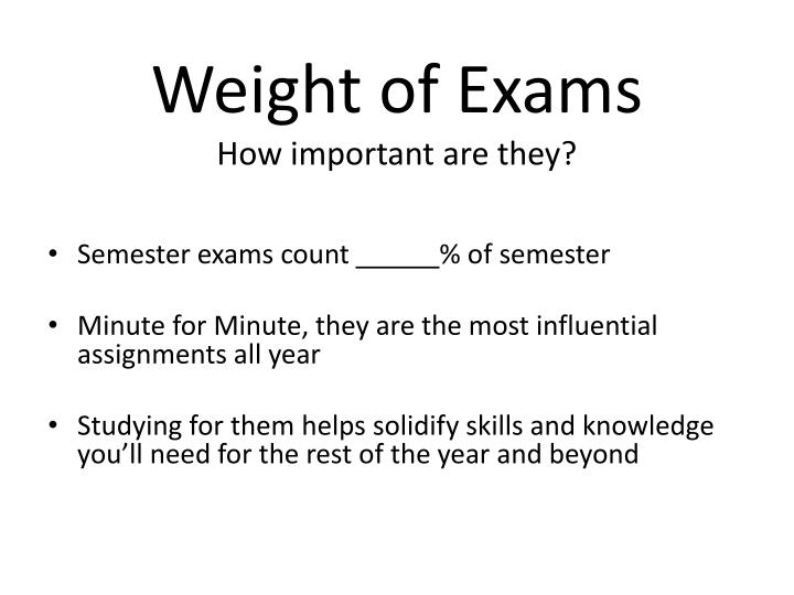 Weight of exams how important are they