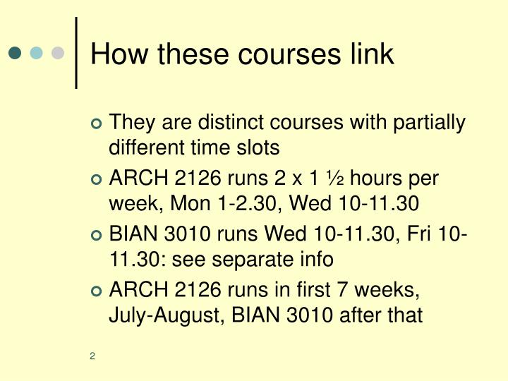 How these courses link