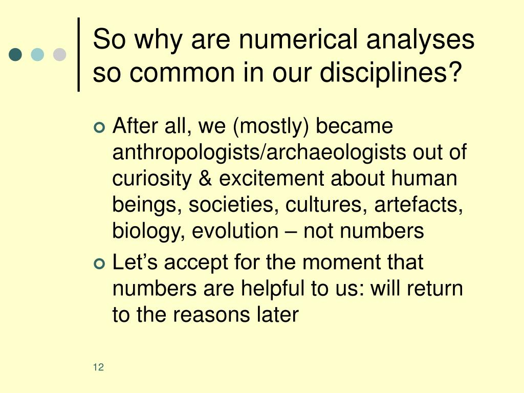 So why are numerical analyses so common in our disciplines?