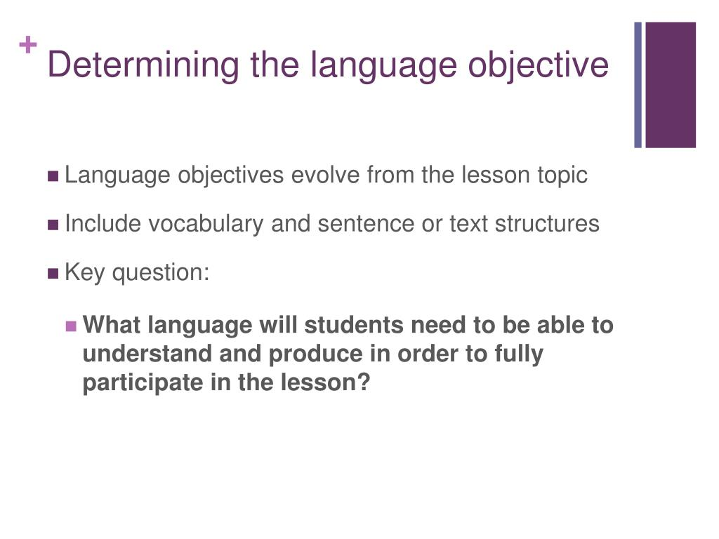 Determining the language objective
