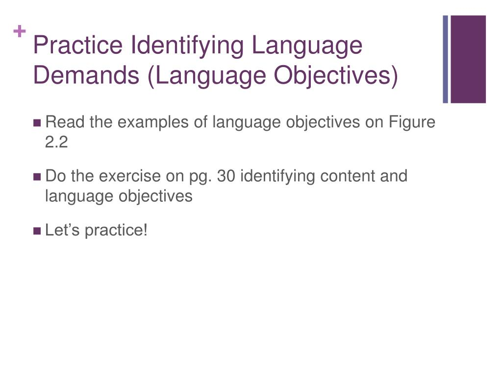 Practice Identifying Language Demands (Language Objectives)