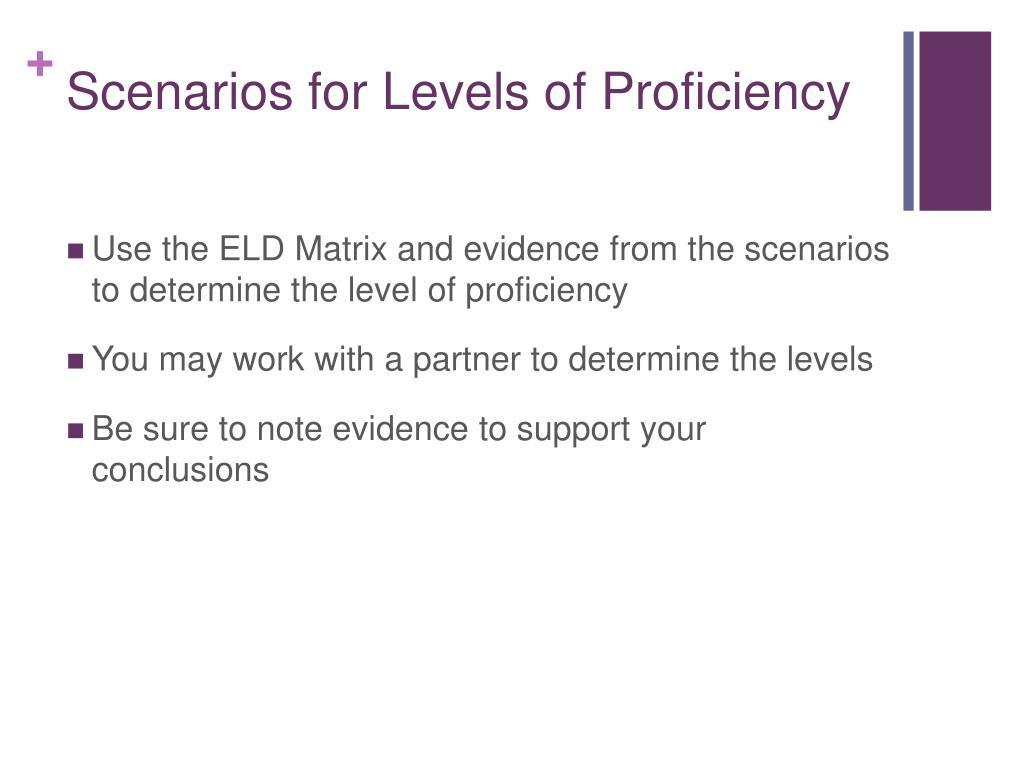 Scenarios for Levels of Proficiency