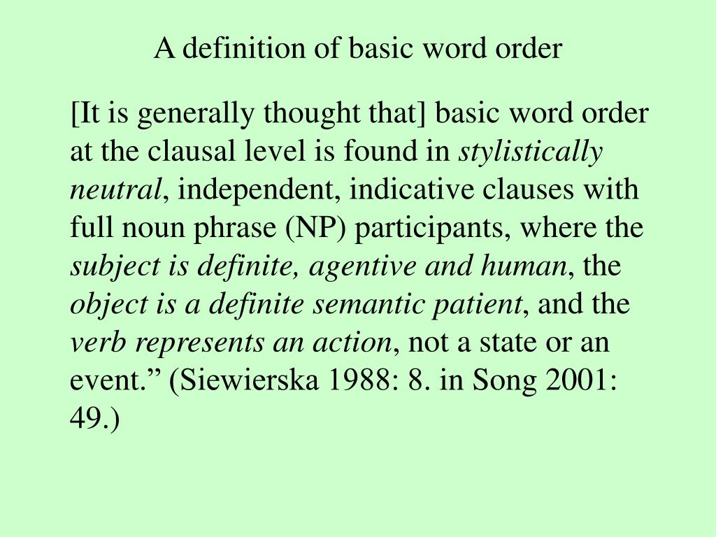 A definition of basic word order