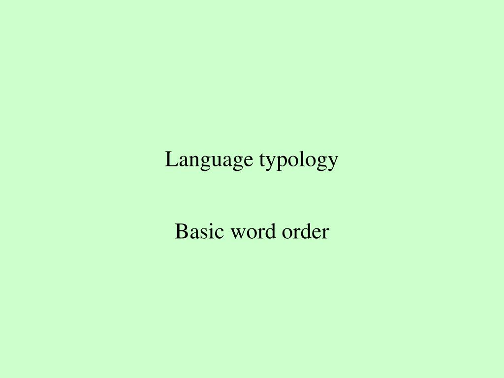 Language typology