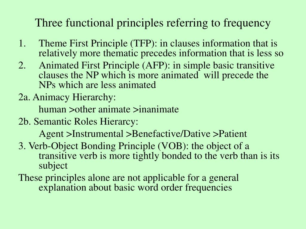 Three functional principles referring to frequency
