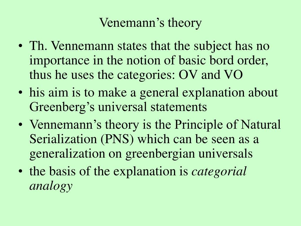Venemann's theory