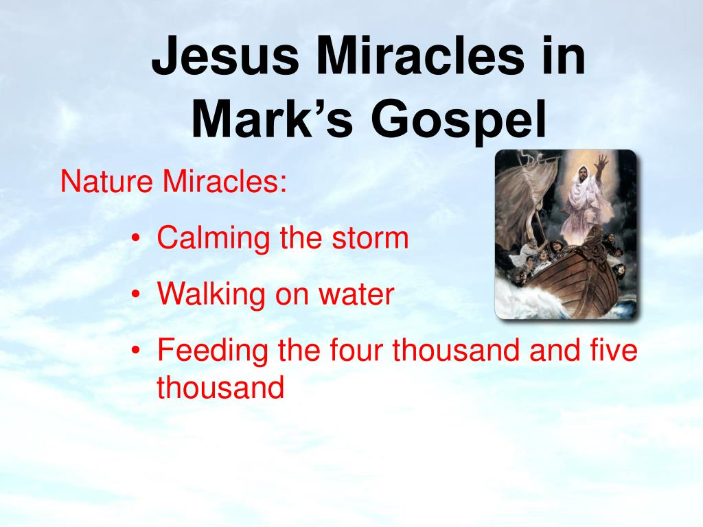 essays of the miracles in the gospel of mark The seven signs of the gospel of john  saved essays  mark and luke, jesus' miracles are not called signs and are seen mainly as acts which.