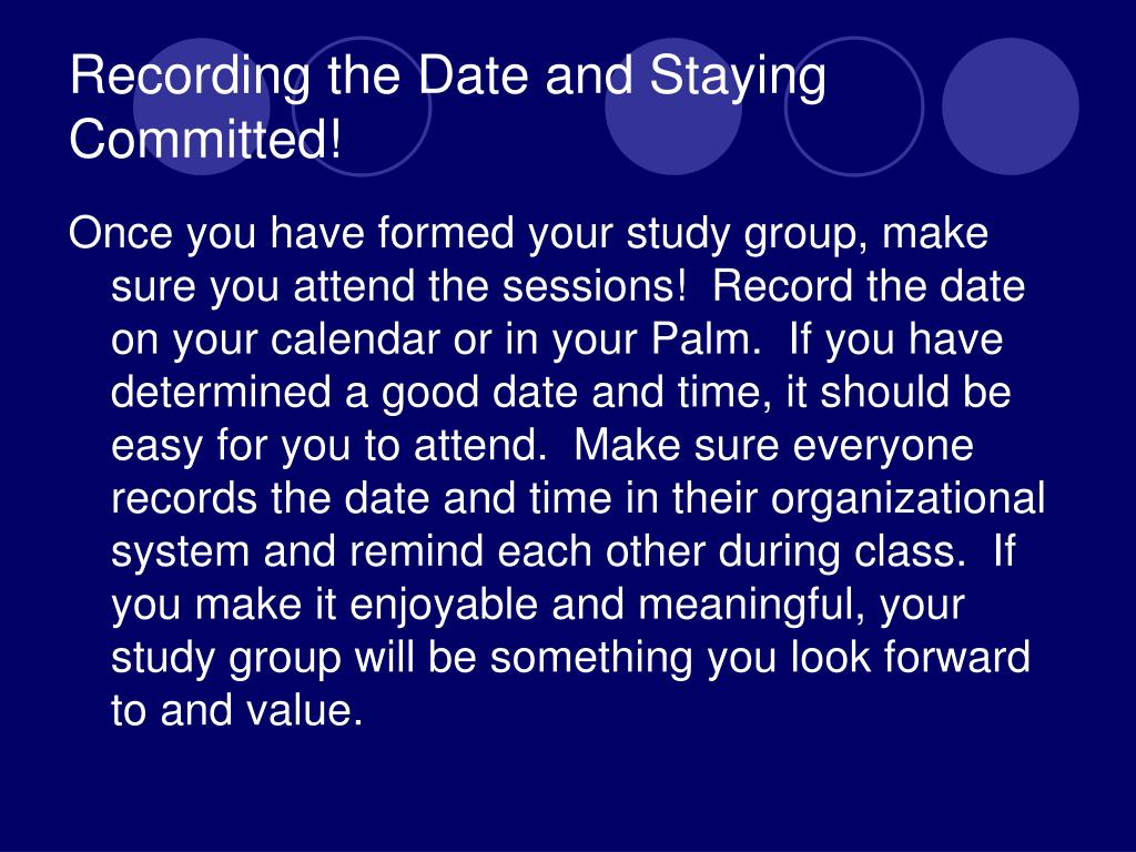 Recording the Date and Staying Committed!
