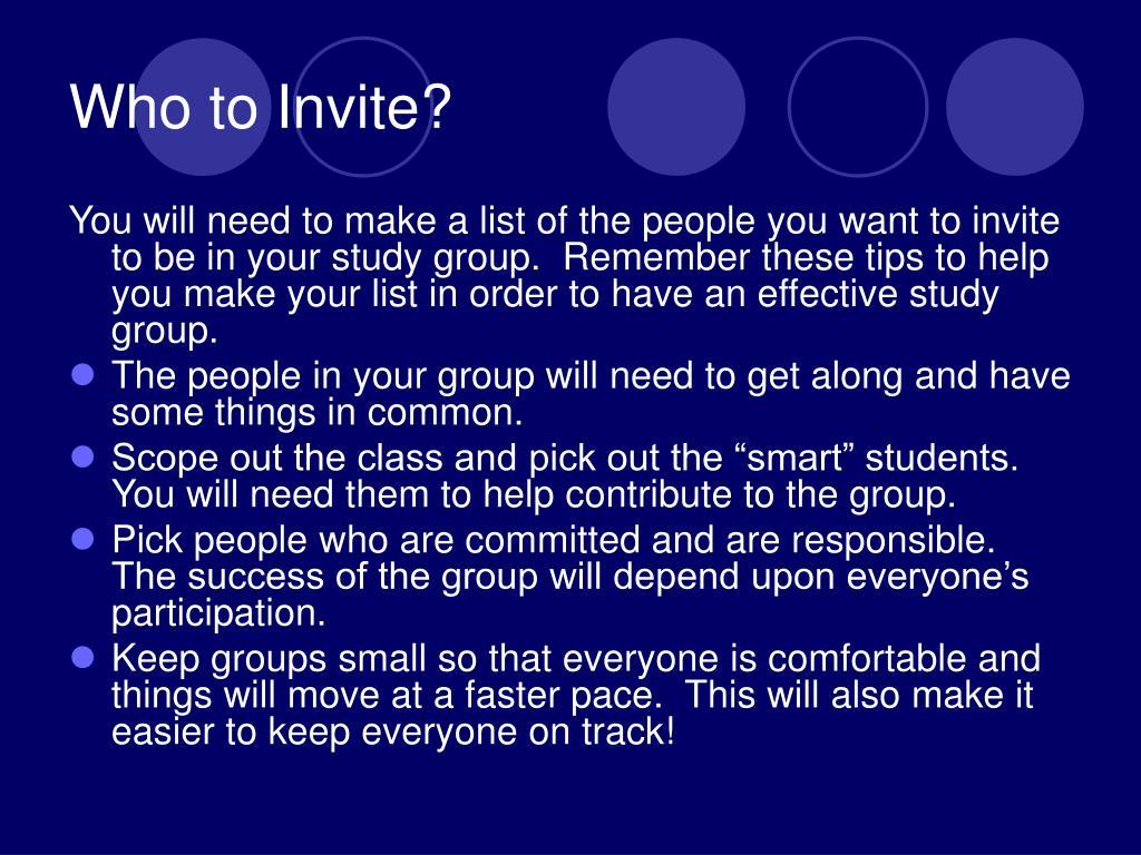 Who to Invite?