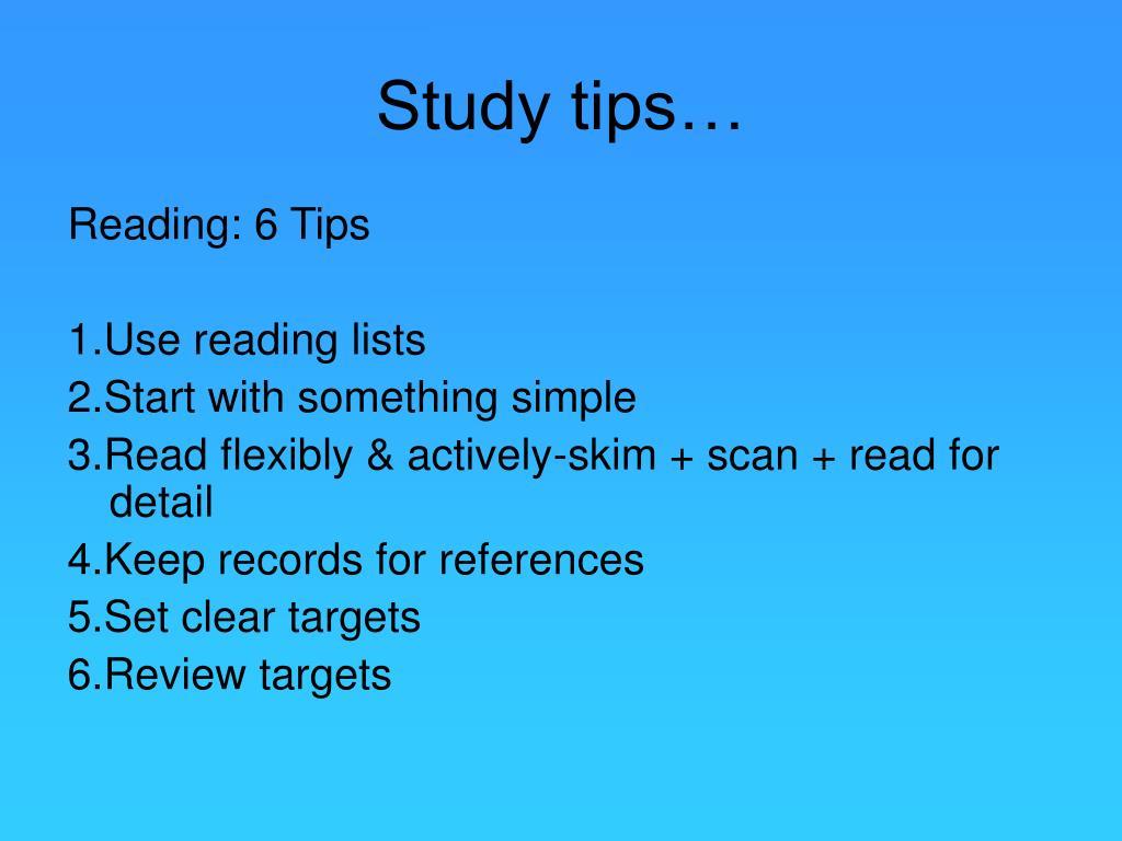 Study tips…