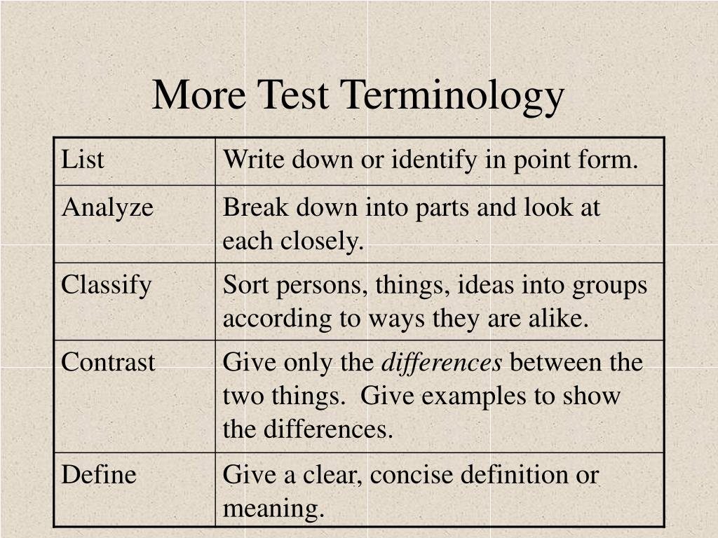 More Test Terminology