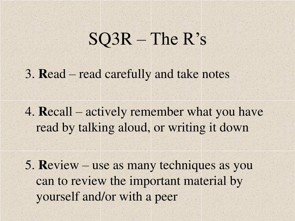 SQ3R – The R's
