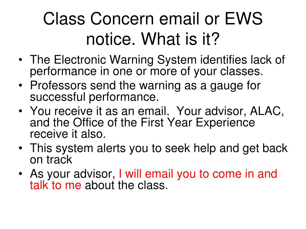 Class Concern email or EWS notice. What is it?