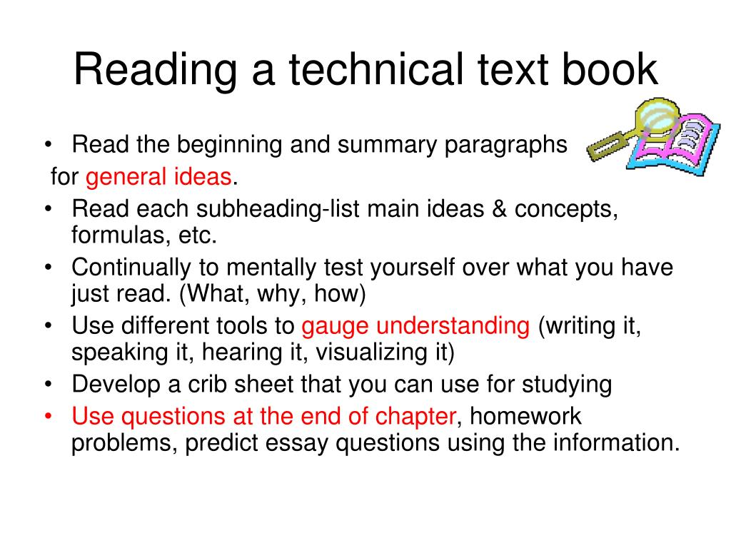 Reading a technical text book