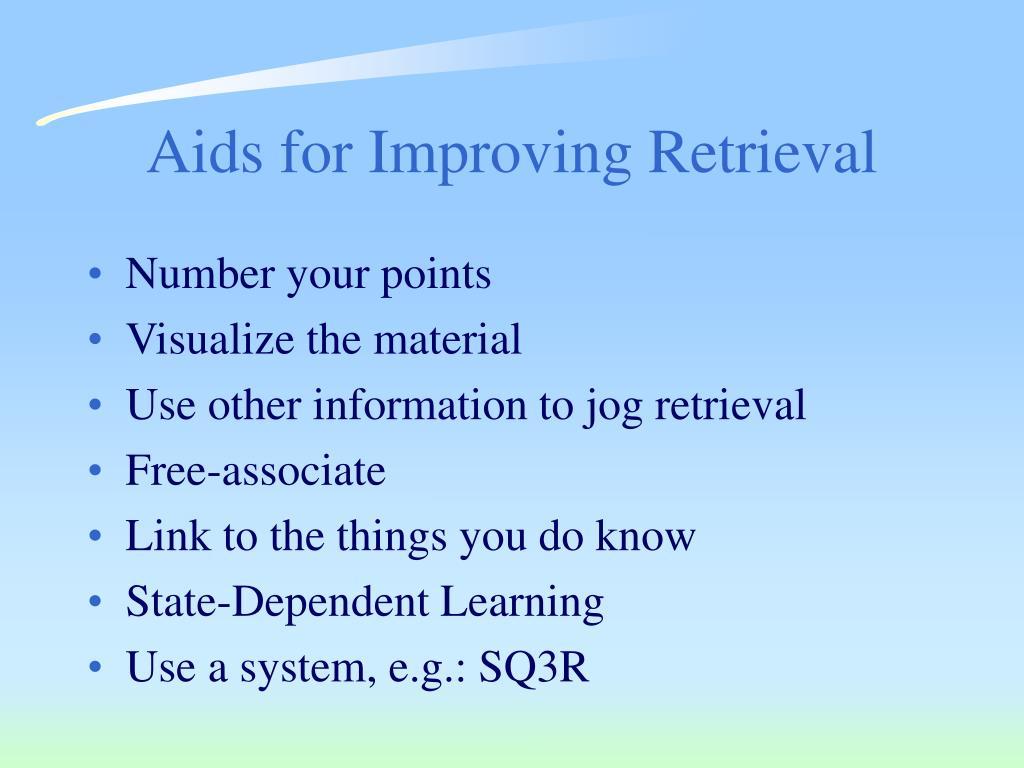 Aids for Improving Retrieval