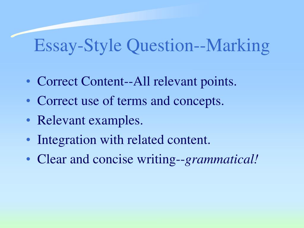 Essay-Style Question--Marking