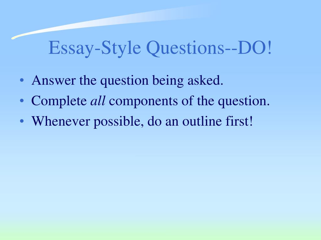 Essay-Style Questions--DO!