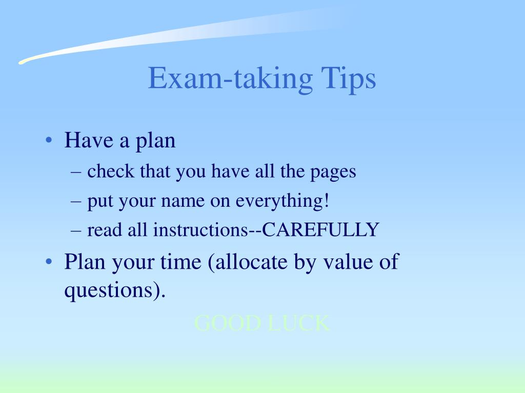 Exam-taking Tips
