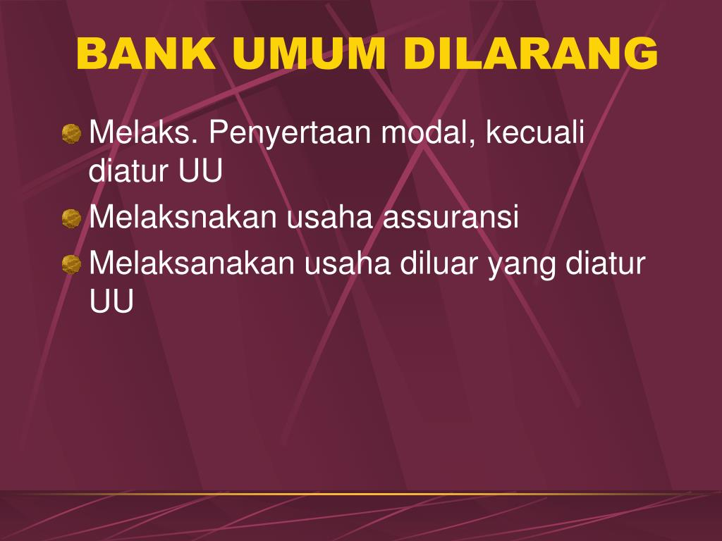 BANK UMUM DILARANG