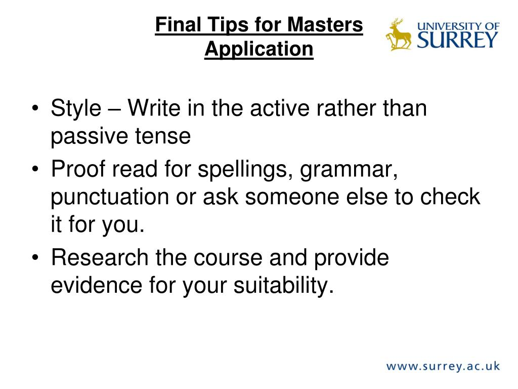 Final Tips for Masters