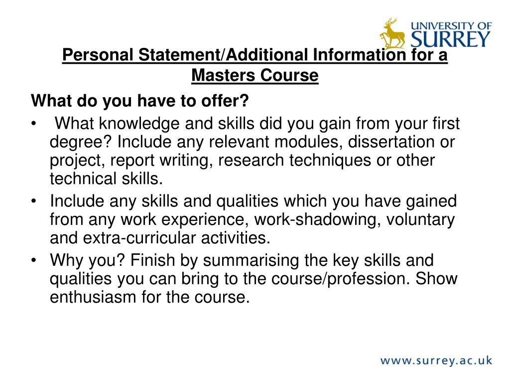 Personal Statement/Additional Information for a Masters Course