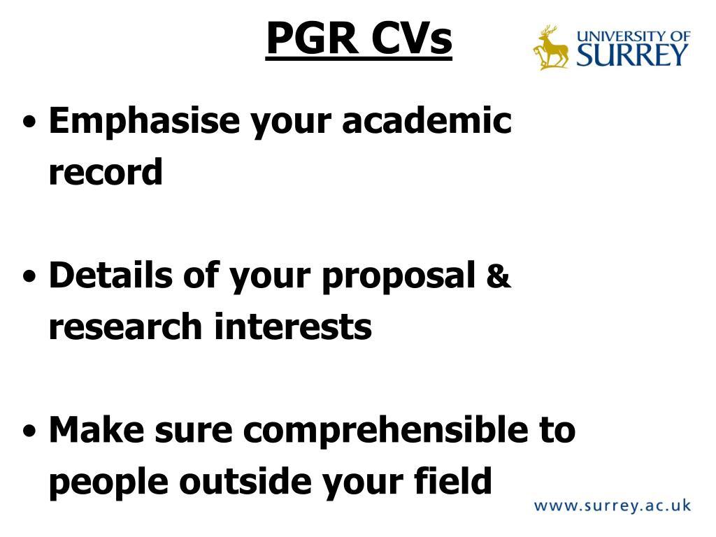 PGR CVs