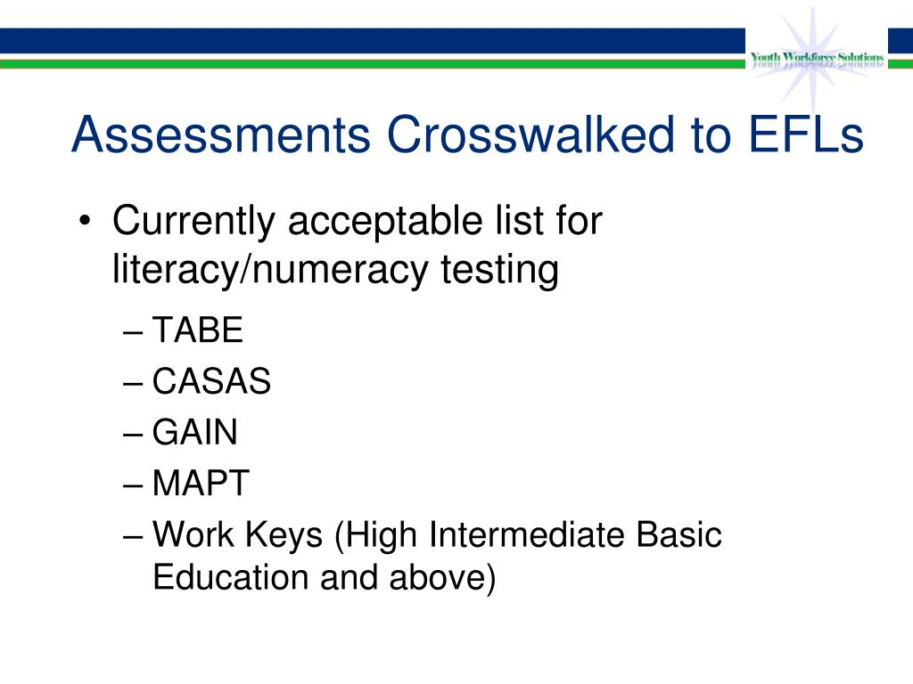 Assessments Crosswalked to EFLs