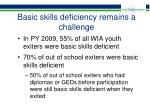 basic skills deficiency remains a challenge