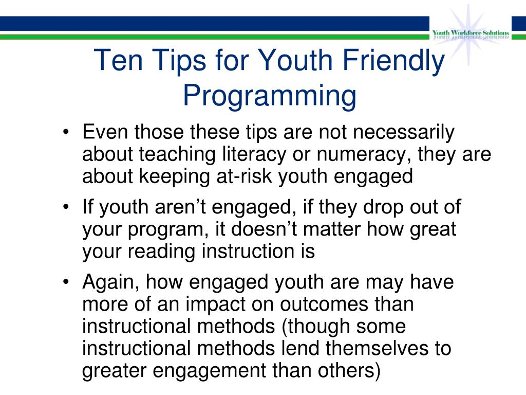 Ten Tips for Youth Friendly Programming