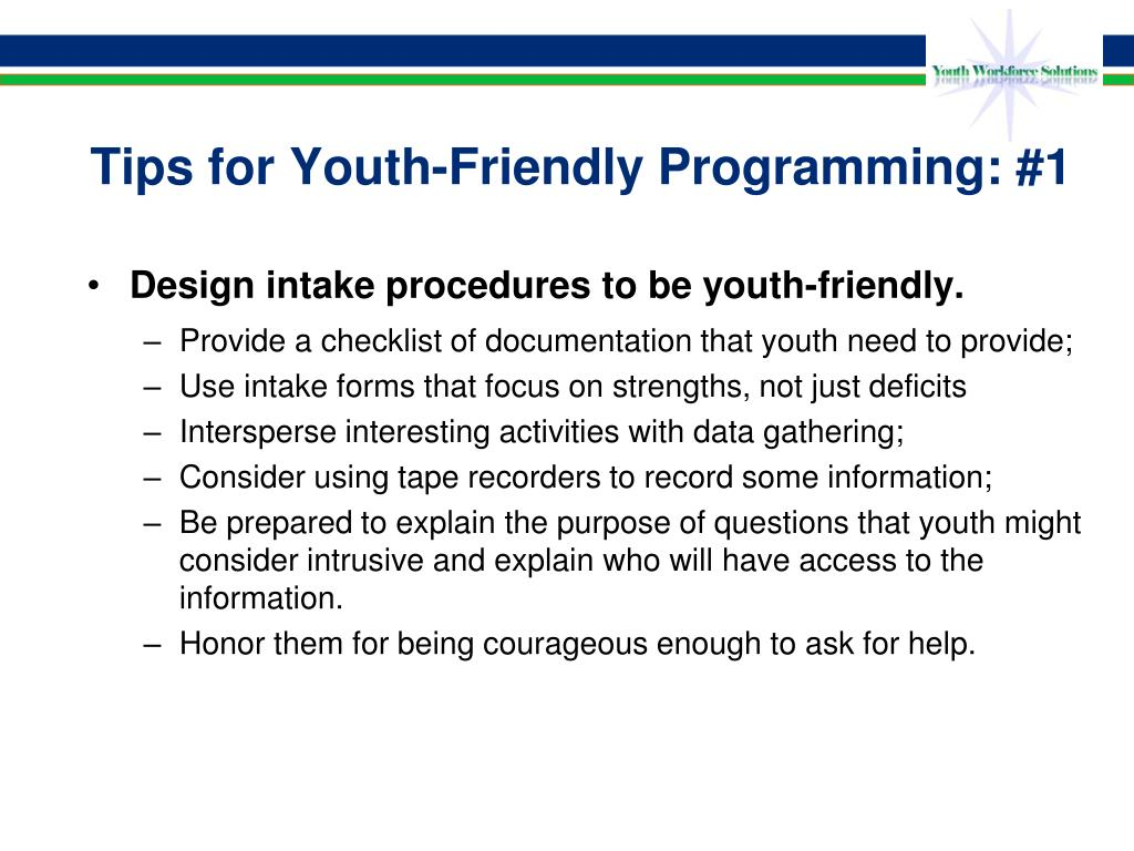 Tips for Youth-Friendly Programming: #1