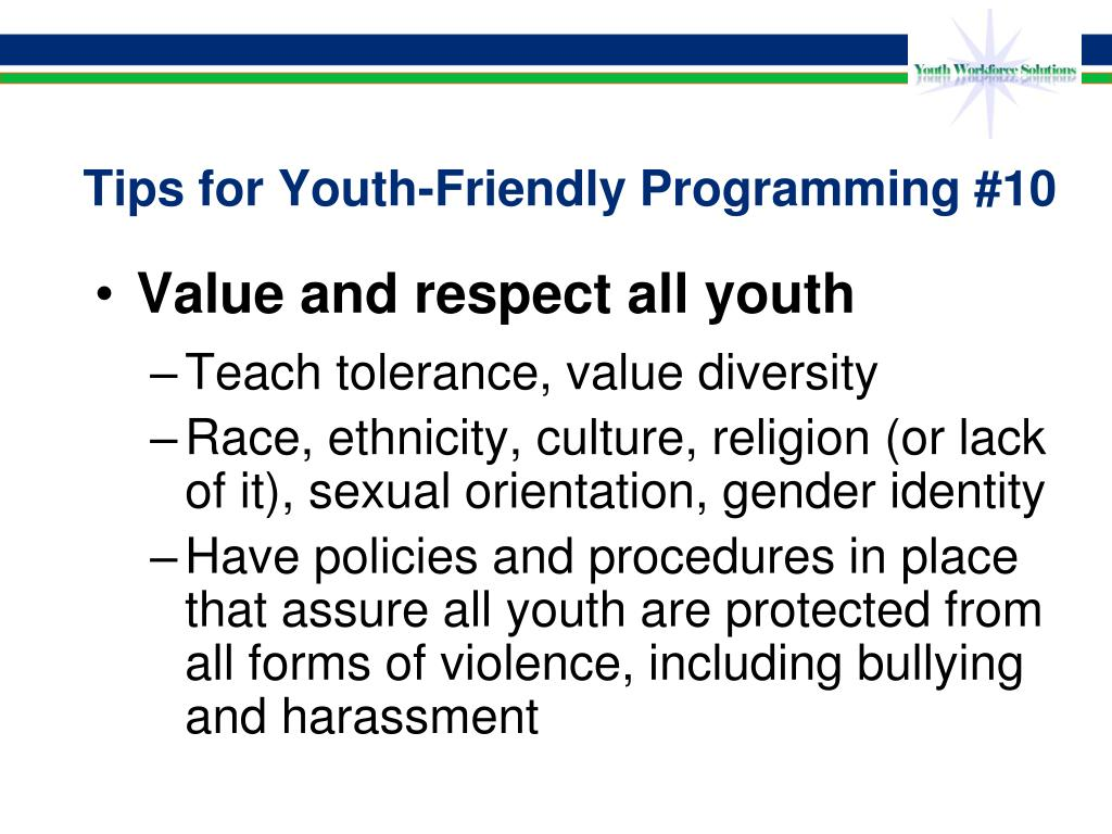 Tips for Youth-Friendly Programming #10