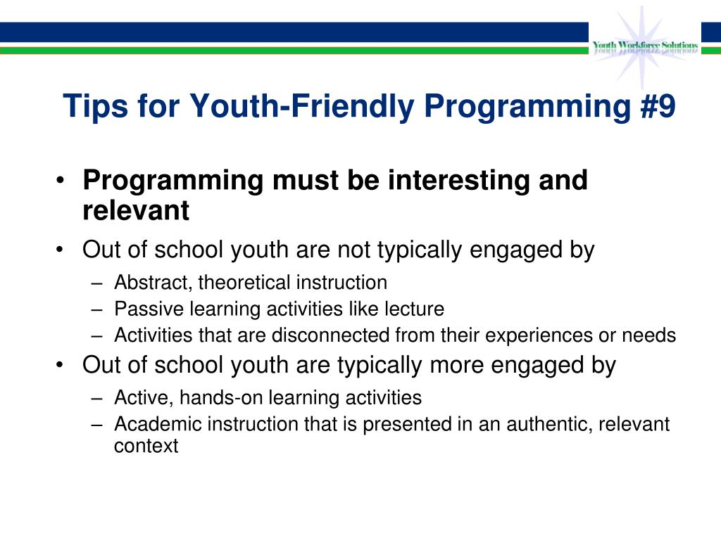 Tips for Youth-Friendly Programming #9