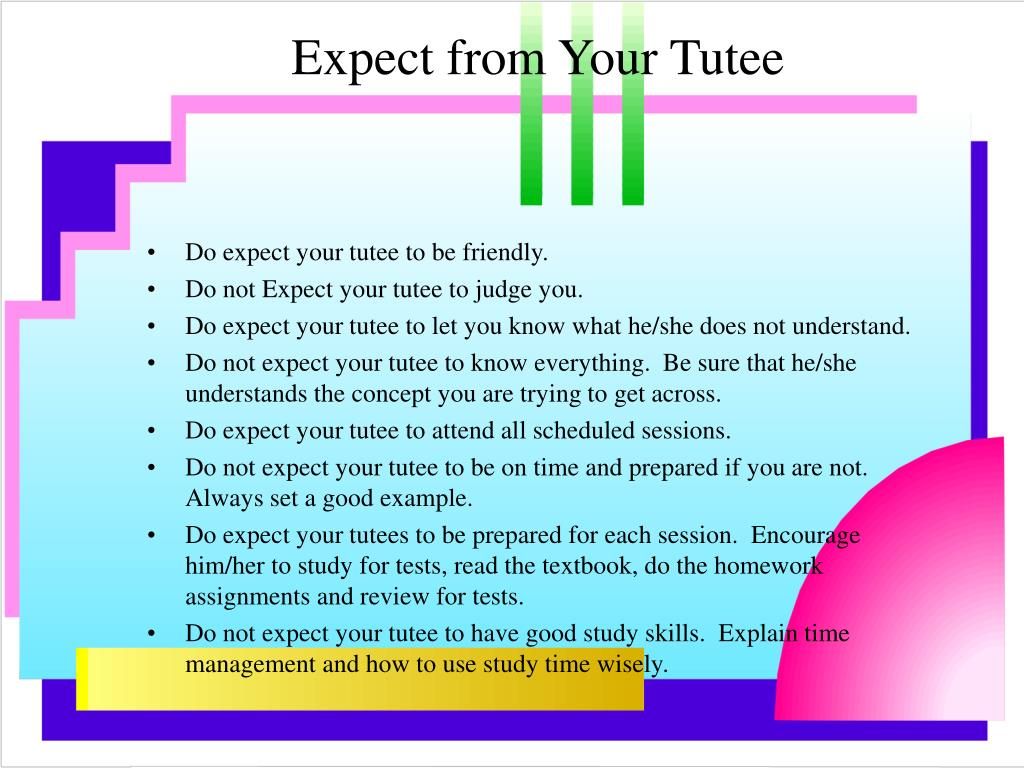 Expect from Your Tutee