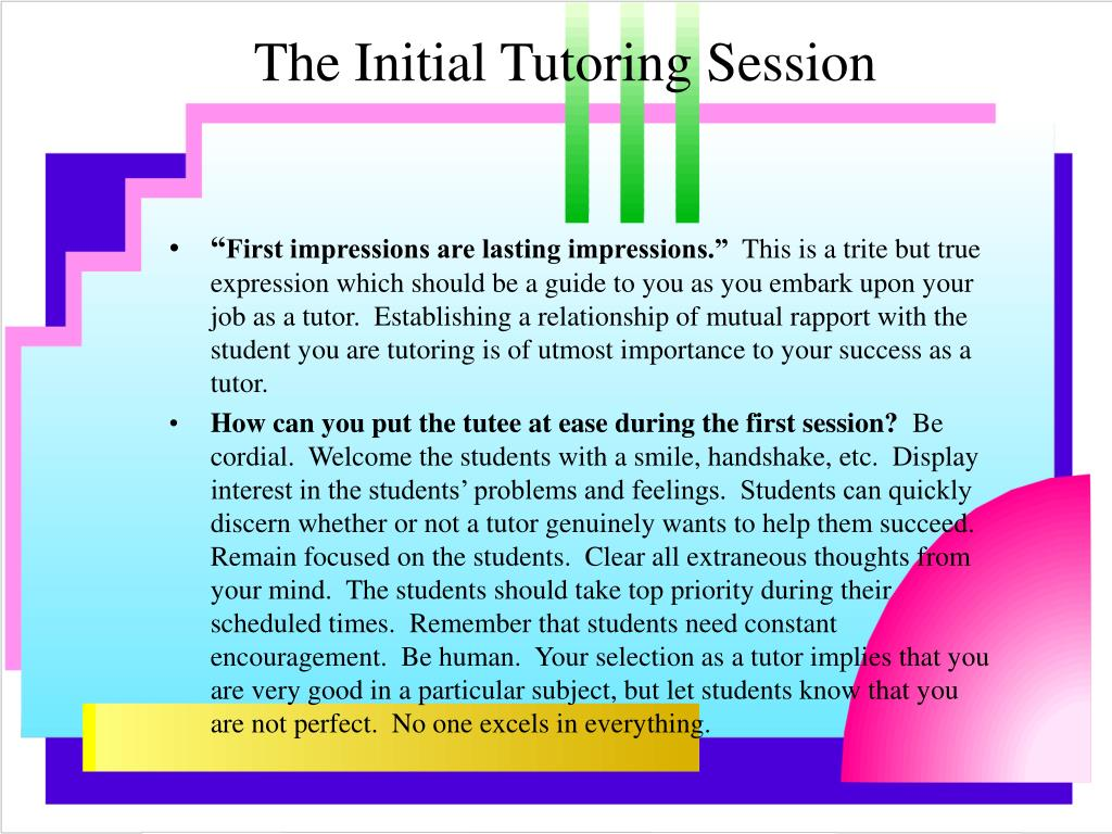 The Initial Tutoring Session