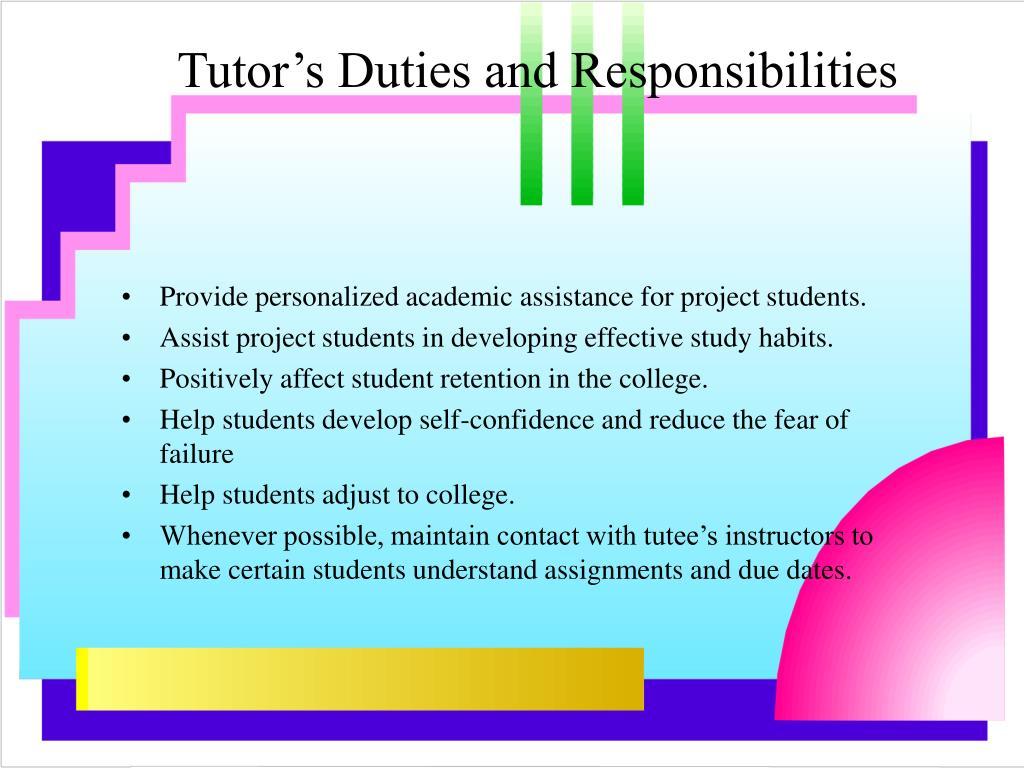Tutor's Duties and Responsibilities