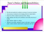 tutor s duties and responsibilities